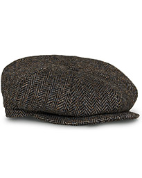 Lock & Co Hatters Tremelo Herringbone Tweed Cap Dark Brown
