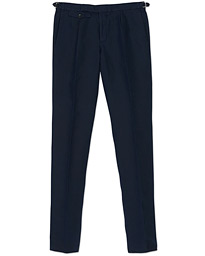 Incotex Slim Fit Pleated Chinolino Trousers Navy