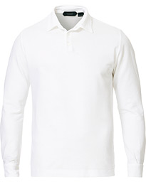 Ice Cotton Long Sleeve Polo White