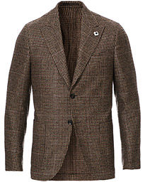 Lardini Peak Lapel Houndstooth Blazer Brown/Beige