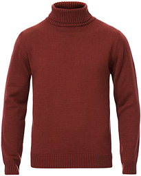 Heavy Knitted Merino Roll Neck Wine