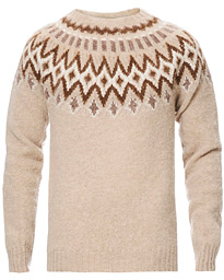 Howlin' Brushed Wool Fair Isle Crew Sweater Biscuit
