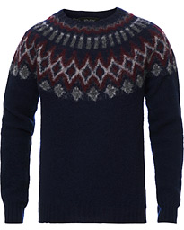 Howlin' Brushed Wool Fair Isle Crew Sweater Navy