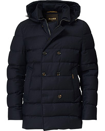 Padded Flannel Double Breasted Hood Coat Navy