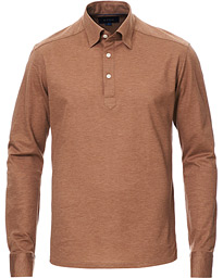 Eton Slim Fit Pique Button Under Poloshirt Nougat
