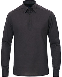 Eton Slim Fit Pique Button Under Poloshirt Anthracite