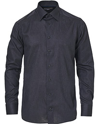 Slim Fit Button Under Flannel Shirt Black