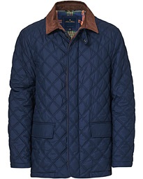 Quilted Cord Collar Jacket Navy