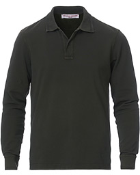 Jarrett Long Sleeve Garment Dye Polo Dark Umber