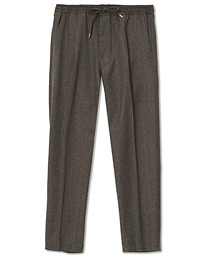 Drawstring Flannel Trousers Brown