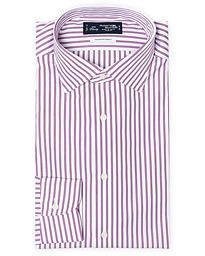 Slim Fit Broadcloth Striped Shirt White/Purple