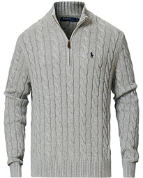 Cotton Cable Half Zip Fawn Grey Heather
