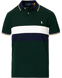 Custom Slim Fit Striped Polo College Green