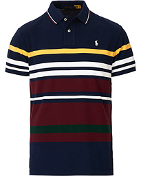 Custom Slim Fit Striped Polo Cruise Navy