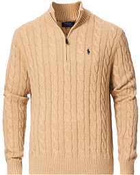 Cotton Cable Half-Zip Camel Melange