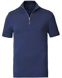 Ron Dorff Cotton/Silk Zip Polo Skyfall