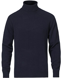 Cashmere Blend Needle Stitched Turtle Neck Navy