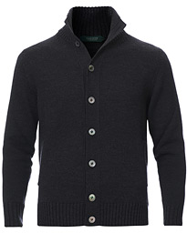 Virgin Merino Wool Chioto Cardigan Charcoal