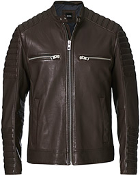 Jakoby Biker Leather Jacket Dark Brown