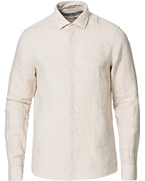 Slim Fit Linen Shirt Bleached Stone