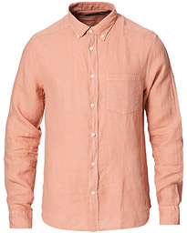 Slim Fit Clean Linen Shirt Rose Coppar