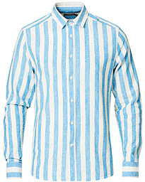 Slim Fit Linen/Cotton Stripe Shirt Spring Blue