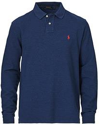 Custom Slim Fit Long Sleeve Polo Navy Heather