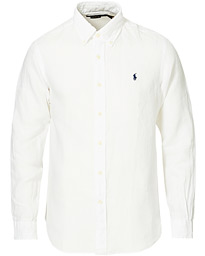 Custom Fit Linen Button Down Shirt White