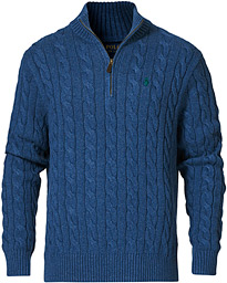 Cotton Cable Half-Zip Sweater Derby Blue Heather