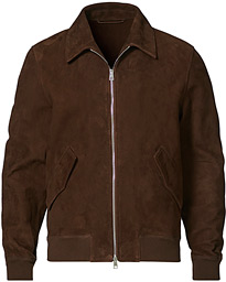 Suede Zip Blouson Dark Brown