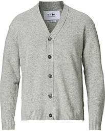 Bjorn Lambswool Cardigan Light Grey Melange