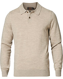Merino Long Sleeve Polo Shirt Khaki