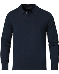Merino Long Sleeve Polo Shirt Navy