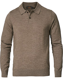 Merino Long Sleeve Polo Shirt Brown