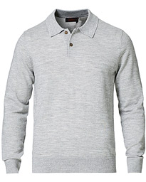 Merino Long Sleeve Polo Shirt Grey Melange