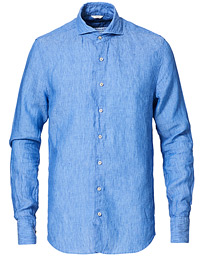 Stenströms Slimline Linen Cut Away Shirt Light Blue