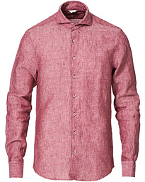 Stenströms Slimline Linen Cut Away Shirt Raspberry Red