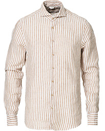 Stenströms Slimline Striped Linen Cut Away Shirt Light Brown