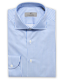 Slim Fit Striped Dress Shirt Light Blue