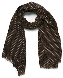 Classic Spot Printed Wool Scarf Brown