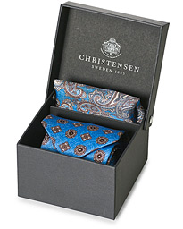 Box Set Silk Twill 8 cm Tie With Pocket Square Blue