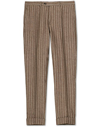 Jack Pinstripe Linen Trousers Brown