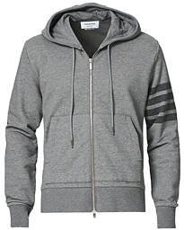 4 Bar Tonal Loopback Hoodie Heather Grey
