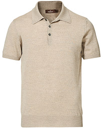 Short Sleeve Knitted Polo Shirt Beige