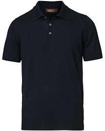 Short Sleeve Knitted Polo Shirt Navy