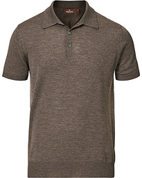 Short Sleeve Knitted Polo Shirt Brown