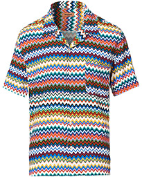 Zig-Zag Camp Collar Shirt Multicolor