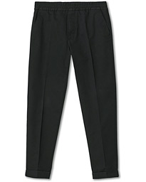 Terry Cotton Cropped Turn Up Trousers Black
