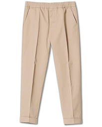 Terry Cotton Cropped Turn Up Trousers Desert Taupe