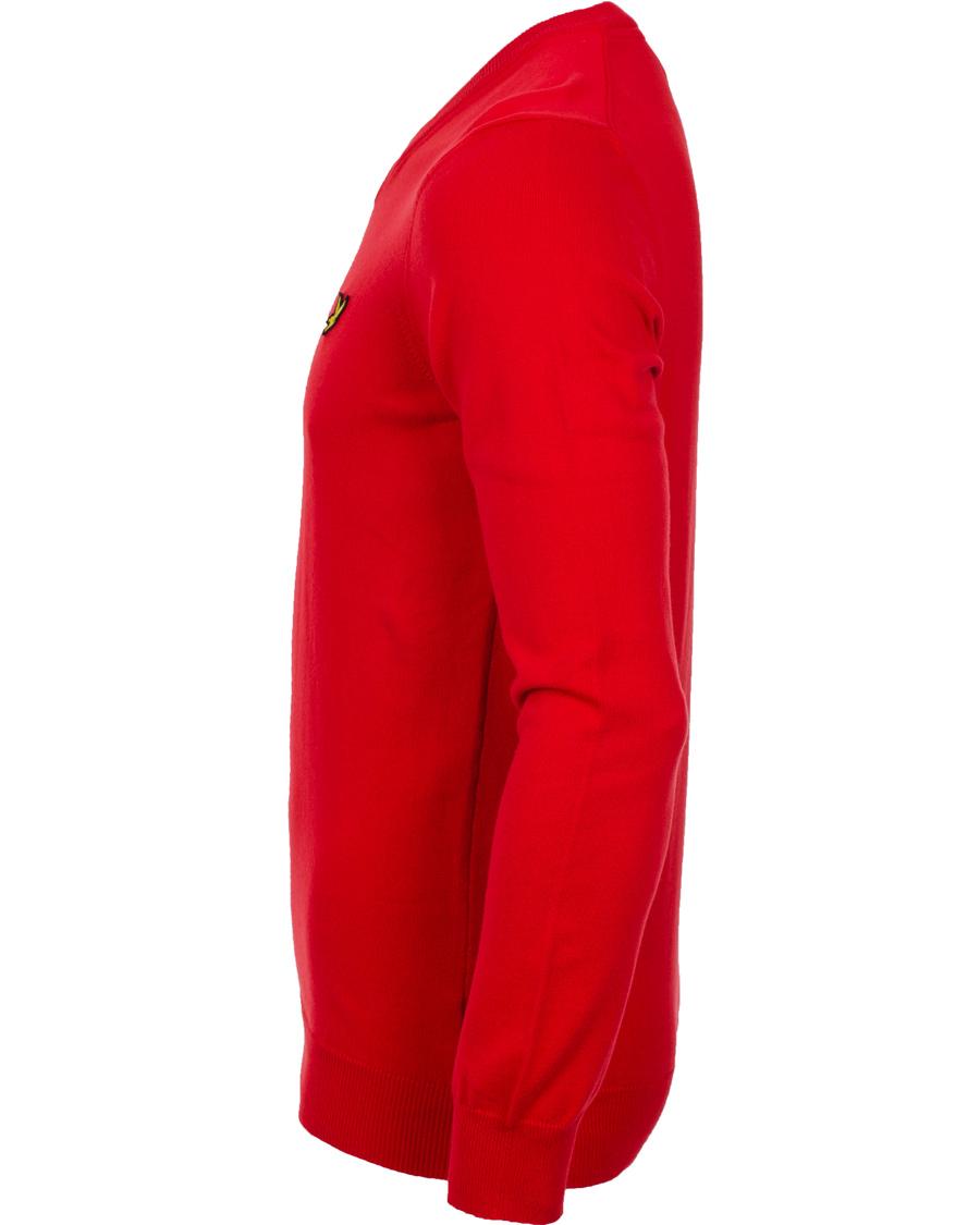 Lyle & Scott V Neck Cotton Pullover Royal Red hos CareOfCarl.no